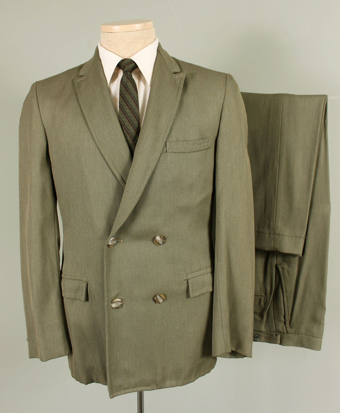 Vintage 38S Slim  Herren Grün Double Breasted Suit Flat Front Pants Dual Vent 287