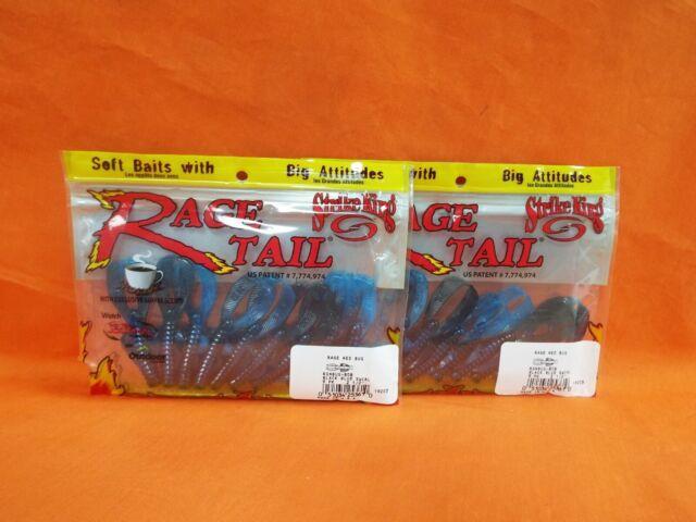 "Strike King Rage Ned Bug 2.5"" 9ct Black Blue Swirl for sale online"