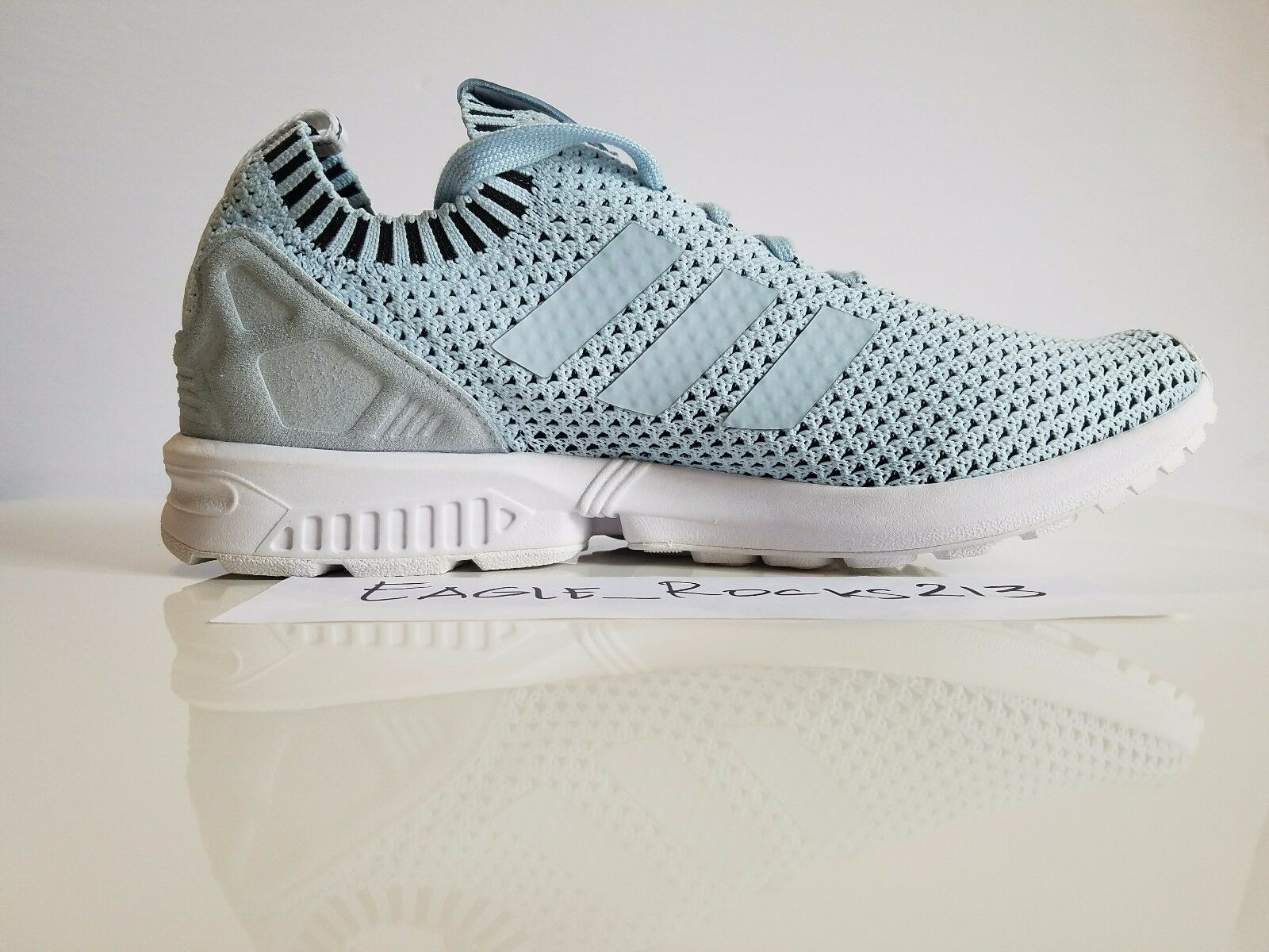 Adidas ORIGINALS MEN'S ZX FLUX PK Primeknit Sneakers Ice Blue S75973 Sz 11.5 NEW