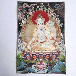 36-034-Tibet-Tibetan-Cloth-Silk-White-Tara-Guanyin-Kwan-yin-Tangka-Thangka-Mural-2