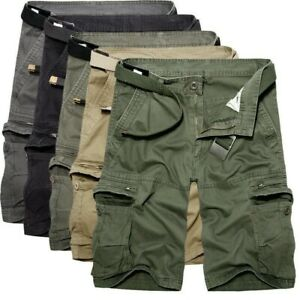 Homme Coton Short Chino Kakis Cargo Combat Demi Pantalon Poches Braguette Zip
