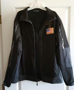 Port-Authority-Mens-Size-Large-Black-Zip-Up-Windbreaker-Jacket