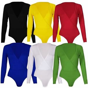 26e6a74ccc New Womens Plus Size Plunge Neck Wrap Over Long sleeve Bodysuit ...