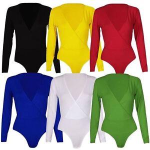 New-Womens-Plus-Size-Plunge-Neck-Wrap-Over-Long-sleeve-Bodysuit-Leotard-Tops8-26