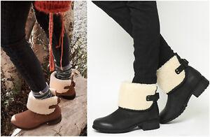 New-UGG-Australia-BNIB-185-Foldover-Leather-Mini-Women-039-s-Ankle-Shoes-Boots-SALE