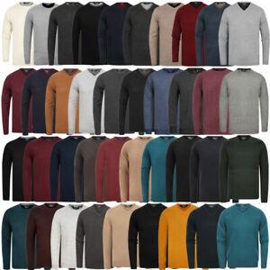 Kensington-Eastside-Men-039-s-Knitted-Crew-or-V-Neck-Jumper-Sweater-Top-Pullover