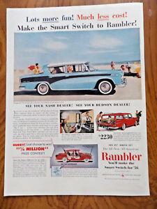Original Print Ad 1956 Hudson Dealers Rambler Cross Country 2 Page Merchandise & Memorabilia