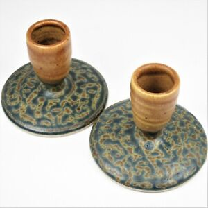 Pair-Signed-Royce-Yoder-Studio-Art-Pottery-Candle-Holders-Tan-Green-Ash-Glaze-US