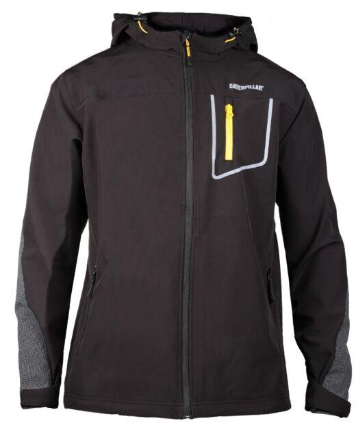 Caterpillar Mens Capstone Full Zipped Hooded Softshell Jacket Black
