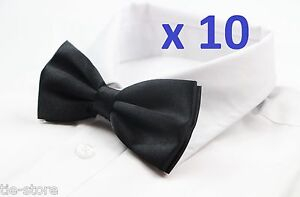 MENS-BULK-10-x-PACK-PLAIN-BOW-TIE-PRE-TIED-MEN-039-S-GROOMSMAN-WEDDING-FORMAL-TIES