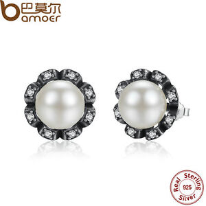 Bamoer-Authentic-S925-Sterling-Silver-Earrings-White-Pearl-amp-Clear-CZ-For-Women