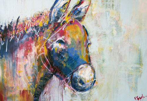 MASSIVE Graffiti Street Art Donkey Print Large Canvas Painting Limited