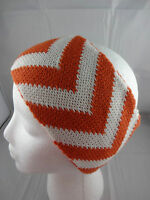 Headband Head Wrap Ear Warmer Orange White Chevron 4 Inch Wide Acrylic Knit