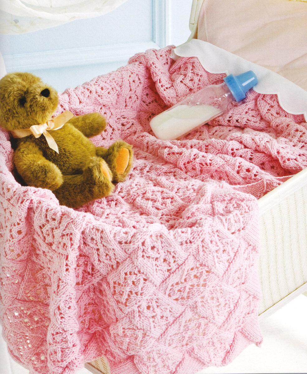 Lace Stitch Entrelac Baby Blanket ~ DK Knitting Pattern ...
