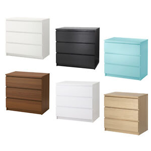ikea malm chest of 3 drawers 88x78cm various colours home