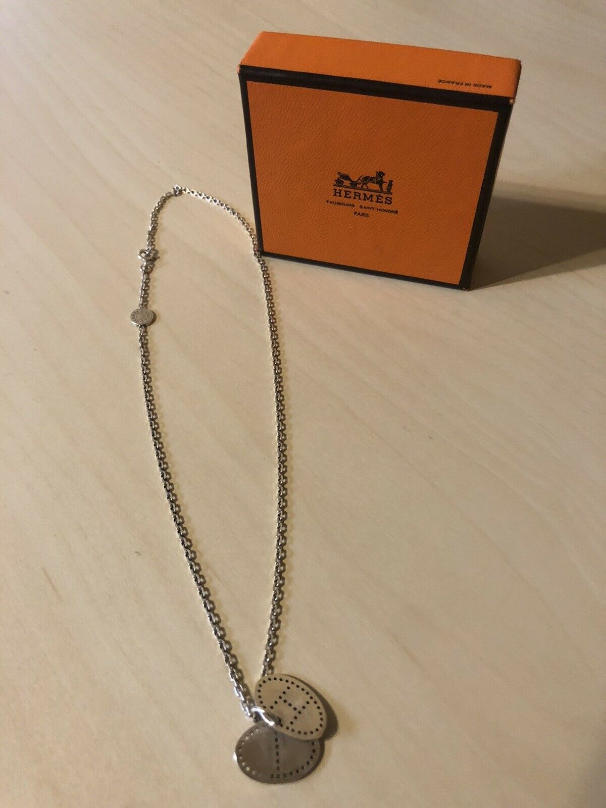 Authentic HERMES Eclipse Necklace 925 Sterling Silver