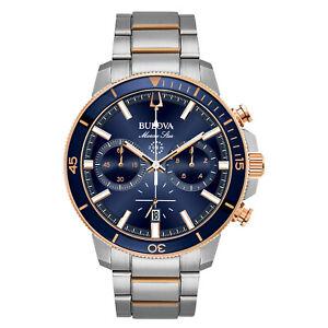 Bulova-Marine-Star-Men-039-s-Quartz-Chronograph-Rose-Gold-Tone-45mm-Watch-98B301