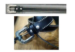 vasta selezione di 3e007 6ae48 Cintura pelle Harley Davidson nera con fibbia grande borchie ...
