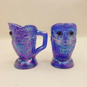 BLUE-White-CARNIVAL-Slag-OWLS-Glass-SUGAR-CREAMER-Imperial-SUMMIT-Cobalt