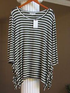 a4cb2c79423 GREEN ENVELOPE Los Angles Dark Olive Green White Stripe Top Shirt ...