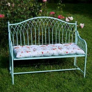 Image Is Loading Steel Shabby Chic Garden Bench Blue Or Cream