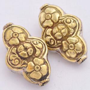Flower-Brass-2-Beads-Floral-Handmade-Boho-Bohemian-Ethnic-Tribal-Nepal-AA231