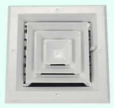 "8"" CEILING AC DIFFUSER Square White Aluminum 4-Way Duct Cover Air Vent HVAC"
