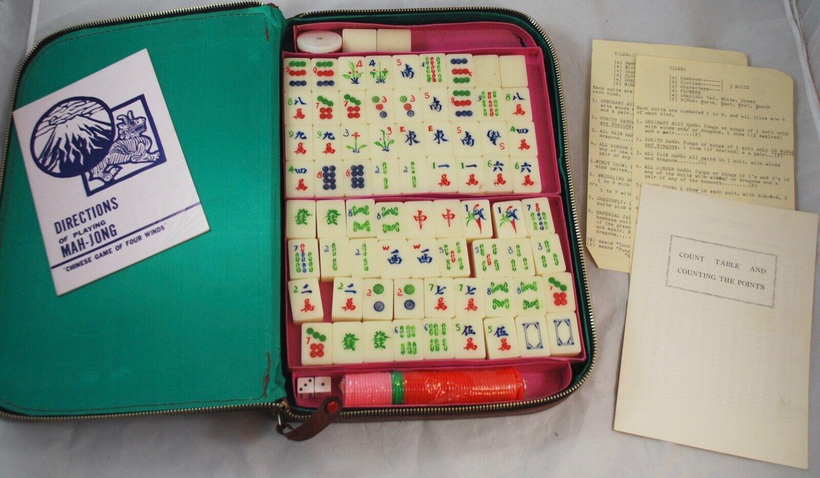 Vintage Mah Jong Mahjong Set  with zip around travel case 142 Tiles  nuovi prodotti novità