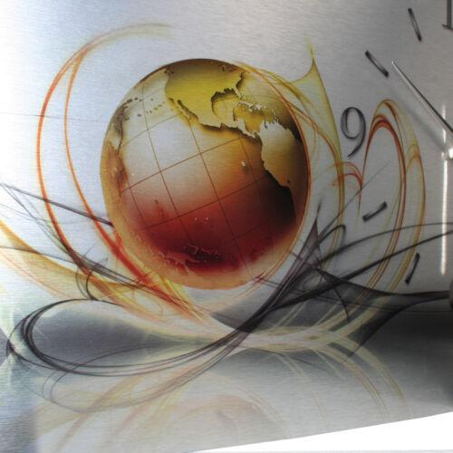 Welt Abstrakt Designer Funk Wanduhr leise Funkuhr Metallic Alu Made in Germany
