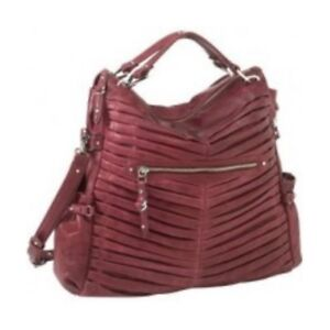Image is loading Junior-Drake-Gail-Pleated-Cranberry-Leather-Convertible- Handbag a88c385db10f4