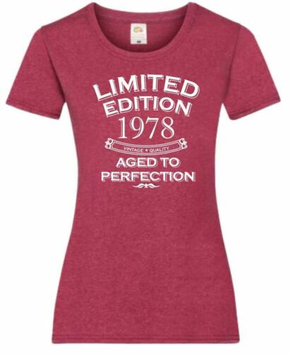 41st Birthday Gift Present Limited Aged To Year 1978 Womens Heather T-Shirt Top