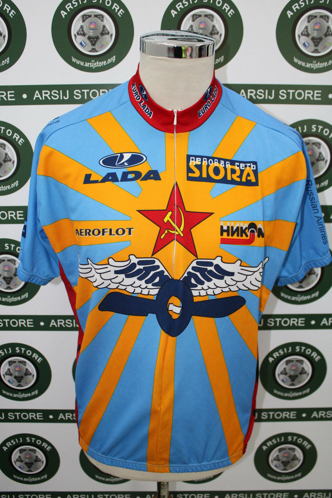 Maglia ciclismo bike shirt maillot trikot camiseta CCCP RUSSIA LADA TG XL F651