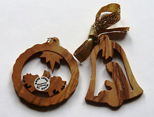 Olive Wood Carved Christmas Ornaments Occupied Israel West ...