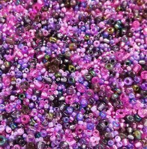 100g-Rocailles-Perlen-Glas-Lila-toenen-Groesse-2-3-4-mm-Gemischt-Schmuck-Z9-100g