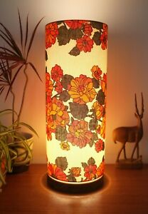 Hand-Turned-Wooden-Lamp-with-Original-Midcentury-Fabric-Tall-Lampshade-Retro