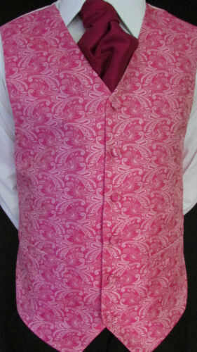 Mens BRAND NEW Pink Patterned Wedding Evening Formal Suit Waistcoat