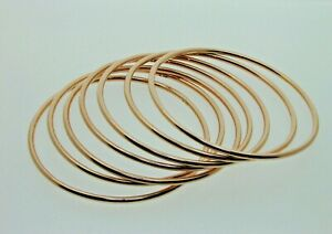 Seven-Solid-9-Carat-Rose-Gold-Bangles-7-1-2-034-For-Smaller-Hands-71-56-grams-2-4mm
