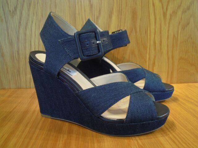 6a7c4bda5a03 Clarks Shoes Size 6 Wedges Blue Denim Platform Wedge Heel Ladies Buckle  Sandals