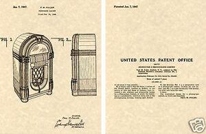 WURLITZER-1015-JUKEBOX-1947-US-PATENT-Art-Print-READY-TO-FRAME-Paul-Fuller