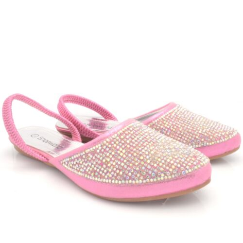 NEW GIRLS KIDS DIAMANTE FLAT PARTY SANDALS CHILDREN/'S FANCY SHOES SIZE UK SK-298