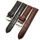 Black/Brown 18/20/22/24/26mm Genuine Leather Wrist Watch Band Steel Buckle Mens