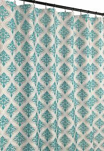 Grey Teal White Fabric Shower Curtain Floral Moroccan Damask Design Ebay