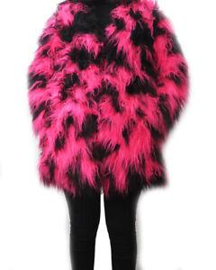 new arrival b7f90 c15ff Details about Soft Jackets Pink Fur Lit Black Long Fur Warm Coat Jacket  Party- show original title