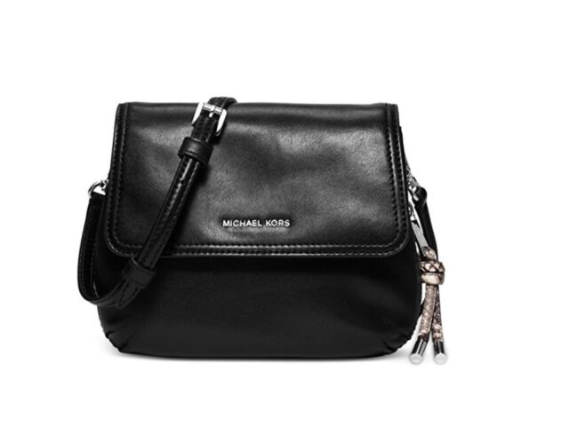 Michael Kors New Black Leather Isabel Flap Small Messenger Bag Purse 238 008
