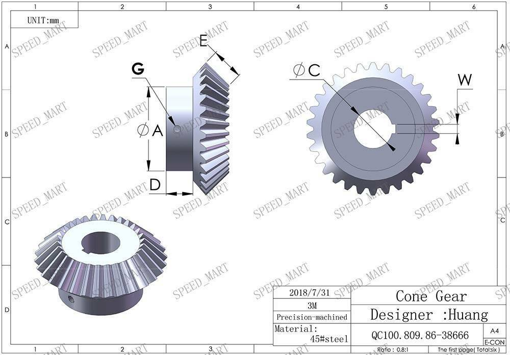 3M30T Metal Umbrella Tooth Bevel Gear Helical Motor Gear 30 Tooth 20-50mm Bore
