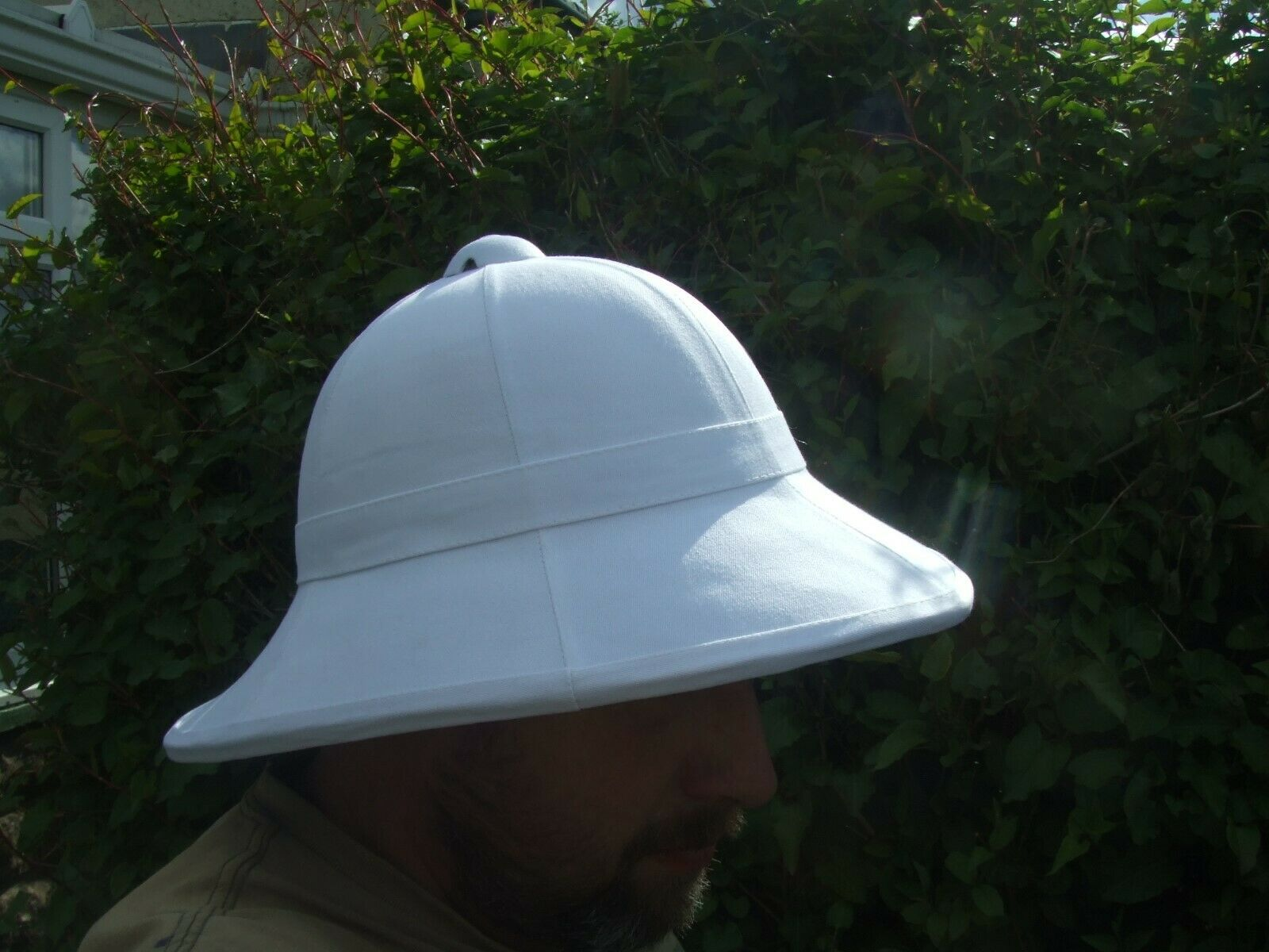 REPLICA WOLSELEY WHITE COLONIAL PITH HELMET SUN SAFARI HAT - ARMY SOLA TOPEE