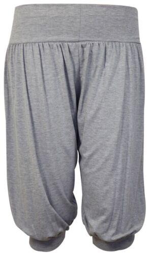 New Ladies 3//4 Harem Ali Baba Trousers Shorts Womens Plain Cropped Pants