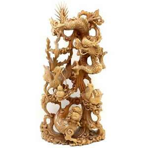 Chinois-Bois-Relief-60cm-Dragon-Fenghuang-Sculpture-Chine-asienlifestyle