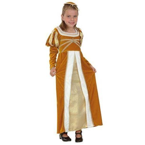 GIRLS GOLD REGAL MEDIEVAL TUDOR PRINCESS COSTUME