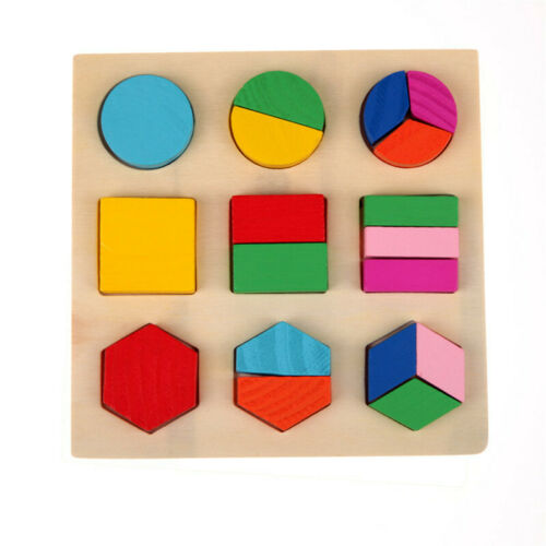 Kids Baby Wooden Puzzle Learning Educational Toy 3D Geometry Puzzles Puzzle Toys